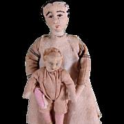 "SALE Charming 3 1/4"" & 6"" Antique Cloth Dollhouse Dolls ~ Needlesculpted"