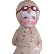 """4 1/4"""" Unmarked All Bisque Doll WW I Aviator or Aviatrix Character Doll"""