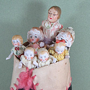 """REDUCED """"Old Woman in Shoe"""" with 6 All Bisque Hertwig Children"""