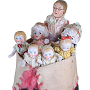 """Old Woman in Shoe"" with 6 All Bisque Hertwig Children"