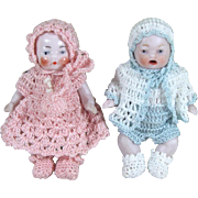 """REDUCED Precious Pair 2 1/2"""" CANDY BABIES in Crochet Outfits ~ Boy & Girl All ..."""