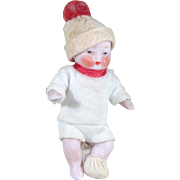 """2 1/2"""" All Bisque CANDY BABY Boy by Hertwig ~ original clothing!"""
