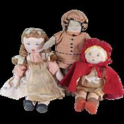 "SOLD 3 Handmade Cloth Dolls ~ Little Girls 6 3/4"", 7 1/2"", & 9"""
