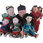"""SALE Group of 6 Old Chinese Doll s - 5 1/2"""" to 9 1/2"""""""