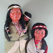 "REDUCED 12 1/2"" & 10"" Skookum Indian Dolls with Label"