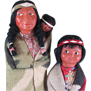 "REDUCED 12 1/2"" & 10"" Skookum Indian Dolls with Label"