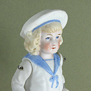 """5 1/2"""" Hertwig Boy in Molded Sailor Suit ~ All Bisque Jointed Doll"""