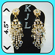 """SALE Vintage KJL Kenneth Lane 4 1/2"""" Chandelier Earrings BOOK PC"""