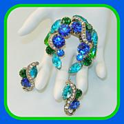 SALE Vintage Aqua Blue Green Brooch Earrings Set Rhinestones Ribbons