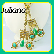 SALE Vintage Juliana Necklace Asian Oriental Charm Lariat Necklace Greens Book Pc