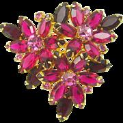 Vintage Juliana D&E Triple Flower Rhinestone Navette Brooch