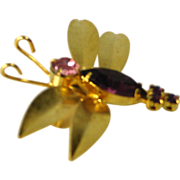 Vintage Purple Rhinestone Navette Insect Bug Butterfly Figural Brooch