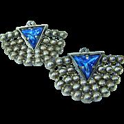 Vintage Blue Triangle Rhinestone Ball Chain Drape Earrings
