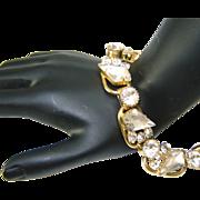 SALE Vintage Juliana Bracelet White Frosted Kite Rhinestone 5 Link