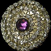 "Antique Hat Pin Large Purple Rose Cut Rhinestone 10"" Long"