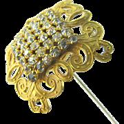 """Antique Hat Pin Large Gilt Art Nouveau Rhinestone 11"""" Long"""