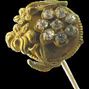 """Antique Hat Pin Art Nouveau Floral Rhinestone 9"""""""