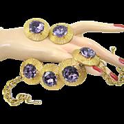SALE Vintage Necklace Earring Huge Lavender Rhinestone Disc Set