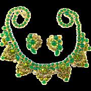 SALE Vintage Juliana D&E Green Jade Glass Peridot Rhinestone Filigree Necklace Earring Set