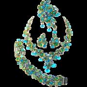 Vintage KRAMER Parure Caribbean Fruit Salad Rhinestones Leaves Dangle Beads