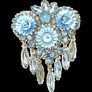 SALE Vintage Juliana Brooch Blue Ice AB Margarita Navette Rhinestone Dangle Pendant Brooch