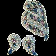 Vintage HOBE Purple Blue AB Rhinestone Filigree Dimensional Brooch Earring Set