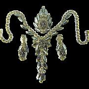Vintage Juliana Parure Necklace Brooch Earrings HTF Silver Tipped Hematite