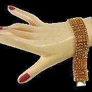 Vintage 5 Row Rhinestone SUN orange Bracelet