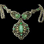 Vintage VICTORIAN REVIVAL Green Satin Moonstone Rhinestone Necklace