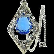 Vintage Large Blue DIAMOND Shaped Filigree Pendant Necklace