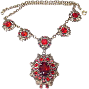 SALE Vintage 1930's Necklace SINGER COHEN NYC Ruby Red Dangle Festoon
