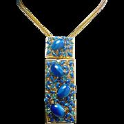 Magnificent Vintage BLUE GLASS MOONSTONE Large Designer Necklace
