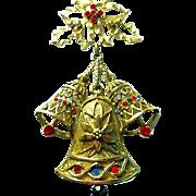 Vintage Huge BEATRIX Christmas Bells Rhinestone Pendant Necklace