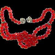 SALE Vintage Judith McCann Shuvon Red Crystal Rhinestone Multi Use Necklace Bracelet Wraps