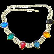 Vintage Rhinestone Jewel Tone Pears Necklace