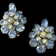Vintage Juliana Large Blue Ice AB Florette Navette Rhinestone Earrings