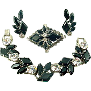 Vintage JULIANA Black KITE Rhinestone Bracelet Brooch Earring Set