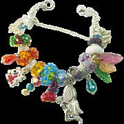 European Beads Fairy Unicorn Butterflies Charm Bracelet Murano Lampwork OOAK