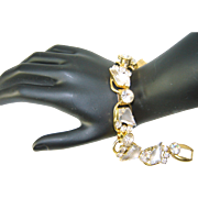 SALE WHITE SALE 50% Vintage Juliana D&E Frosted White Kite Rhinestone 5 Link Bracelet