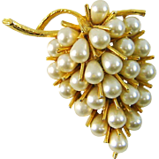 SALE WHITE SALE 50% Vintage 3 D Signed ART Brooch Grape Cluster Faux Pearls