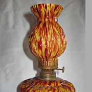 REDUCED Cased Red and Yellow  Spatter Glass Mini Oil Lamp