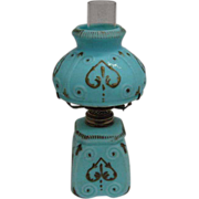 REDUCED Miniature Oil Lamp - Robin's Egg Blue Satin Finish