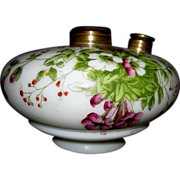SOLD Floral Painted Milk Glass Oil Lamp Font