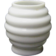 SOLD Miniature Oil Lamp Shade - White Milk Glass Beehive