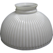 White Opaque Ten Inch Ribbed Oil Lamp Shade