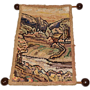 Mini hooked rug Scenic landscape vintage