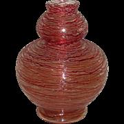 SOLD Czech Art Glass Vase Red Threading all over