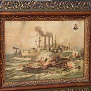 Spanish American War Print Battleships in Cuba, Schley, 1898