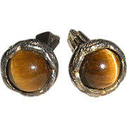 Sterling Cufflinks Tiger Eye Stones