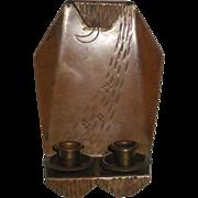 Roycroft copper double candle sconce